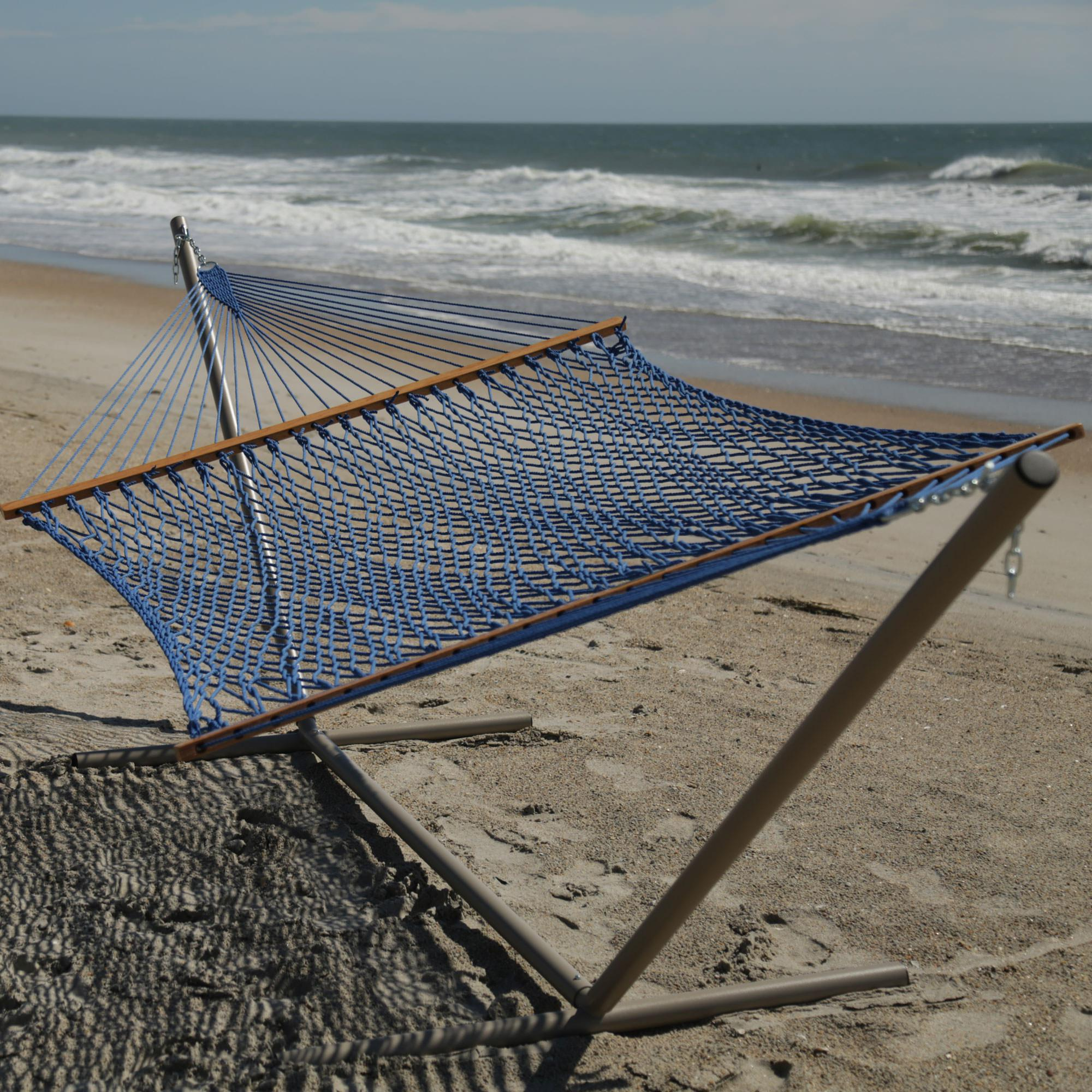 large original duracord rope hammock   coastal blue large original coastal blue duracord rope hammock   pawleys island  rh   pawleysislandhammocks