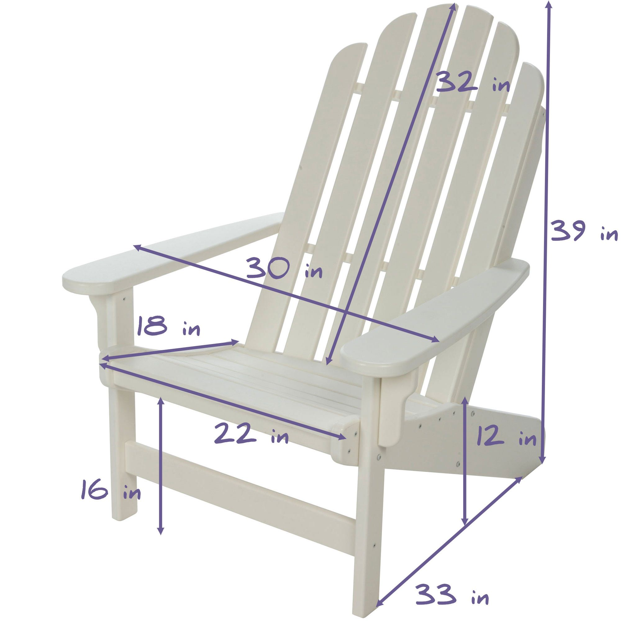 Lifetime Essential Adirondack Chair White NHH Durawood