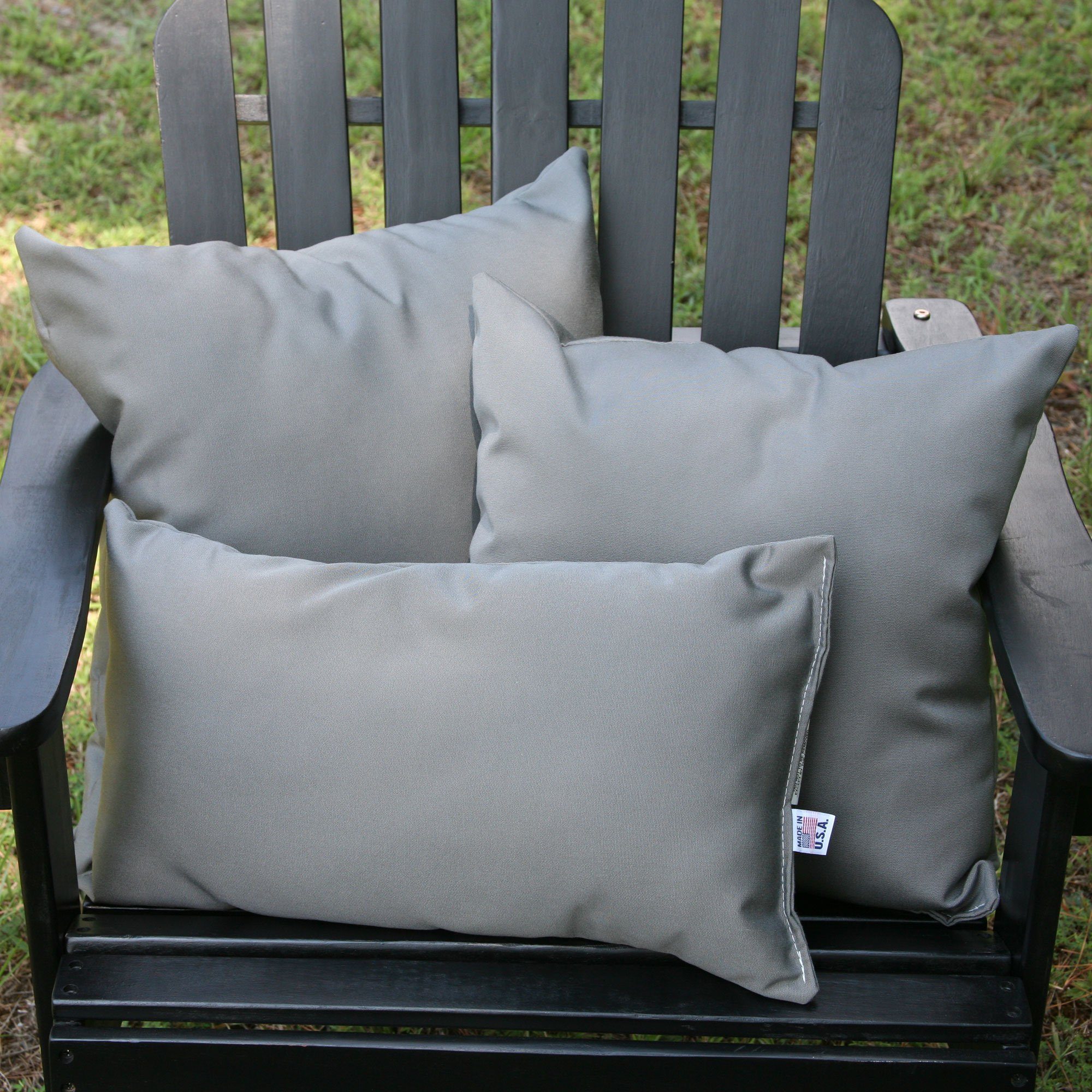 Charcoal Gray Sunbrella Outdoor Throw Pillow ...