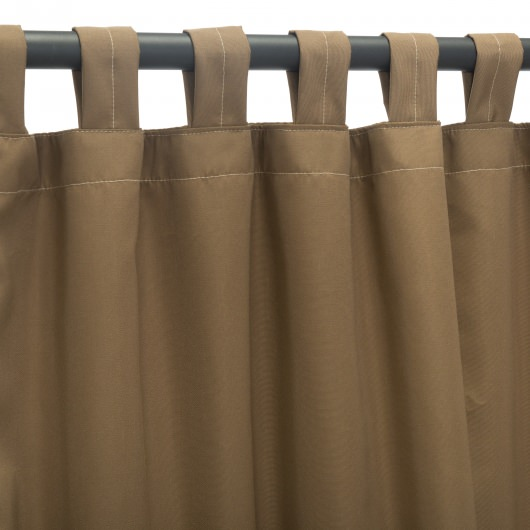Canvas Cocoa Sunbrella Outdoor Curtain With Tabs