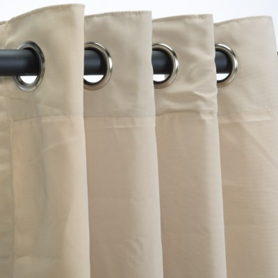 Sunbrella Canvas Antique Beige Nickel Grommeted Outdoor Curtain