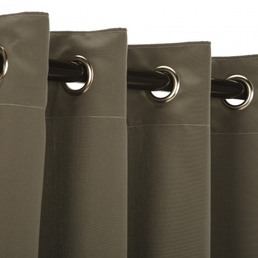 Sunbrella Canvas Charcoal Outdoor Curtain with Nickel Plated Grommets