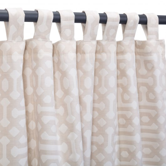 Fretwork Flax Sunbrella Outdoor Curtain With Tabs