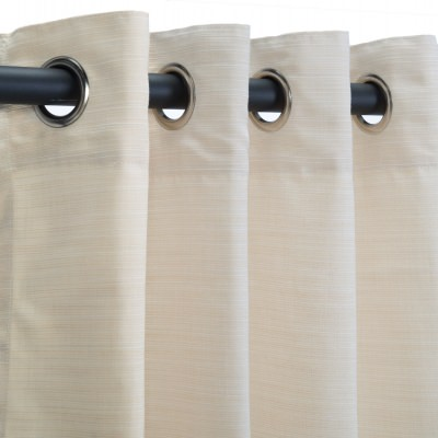 Dupione Pearl Sunbrella Nickel Grommeted Outdoor Curtain