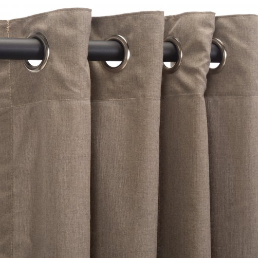 Sunbrella Cast Shale Outdoor Curtain with Nickel Plated Grommets