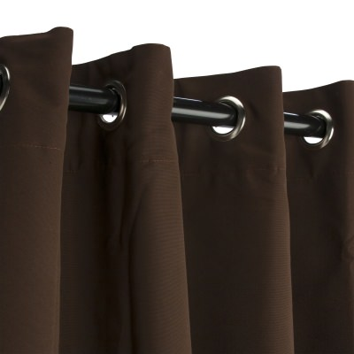 Sunbrella Canvas Bay Brown Outdoor Curtain with Nickel Plated Grommets