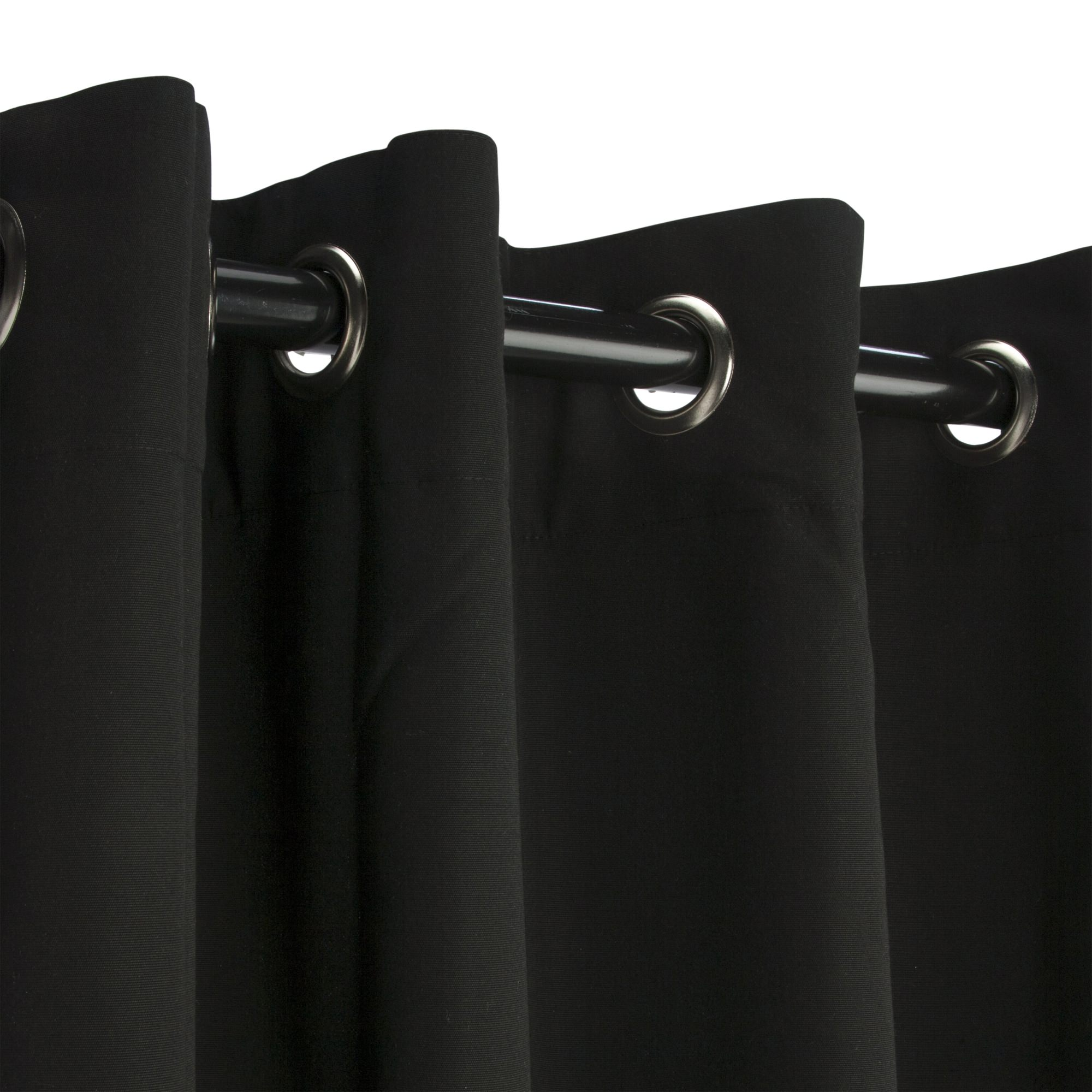 black sunbrella nickel grommeted outdoor curtain