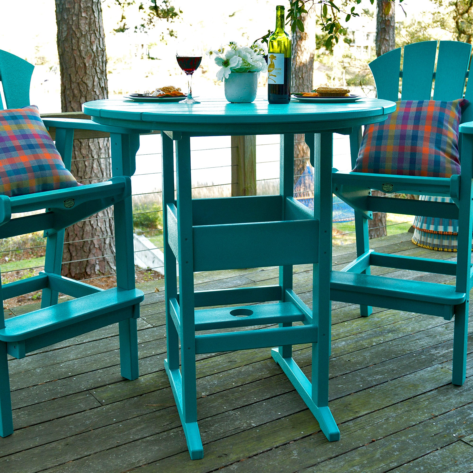 Teal dining room table