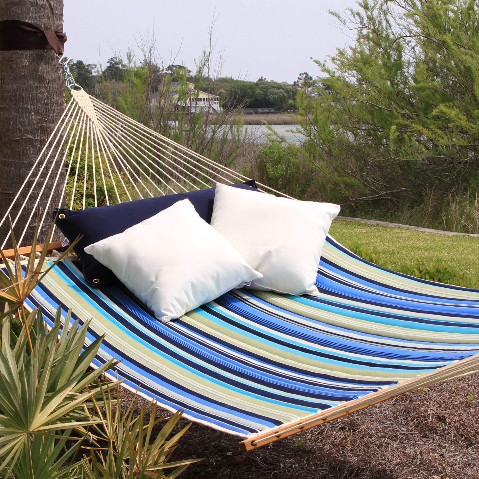 Beaches Stripe Large Quilted Fabric Hammock Pawleys Island