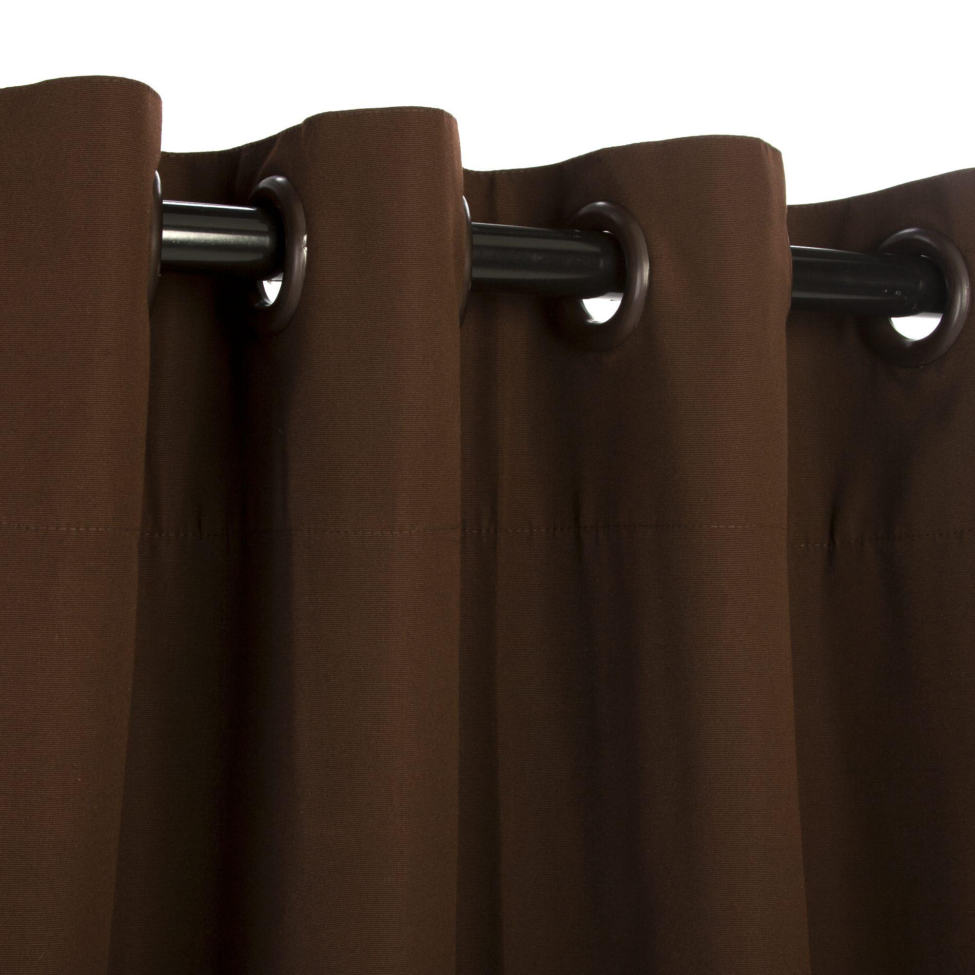 Sunbrella Canvas Bay Brown Outdoor Curtain With Nickel