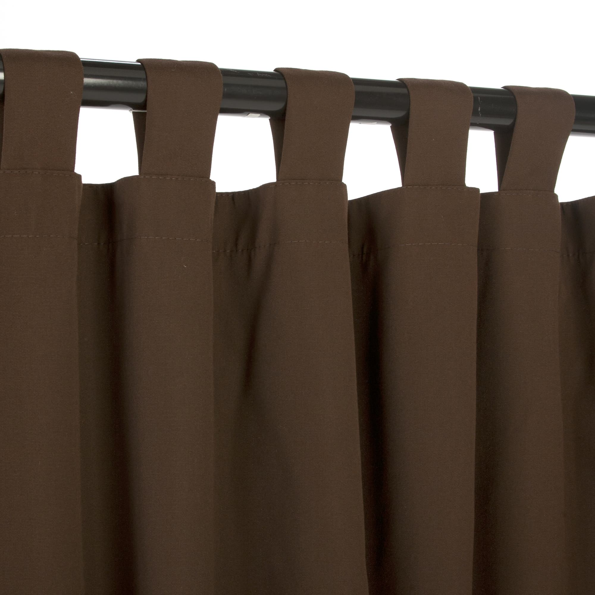 Bay Brown Sunbrella Outdoor Curtains With Tabs