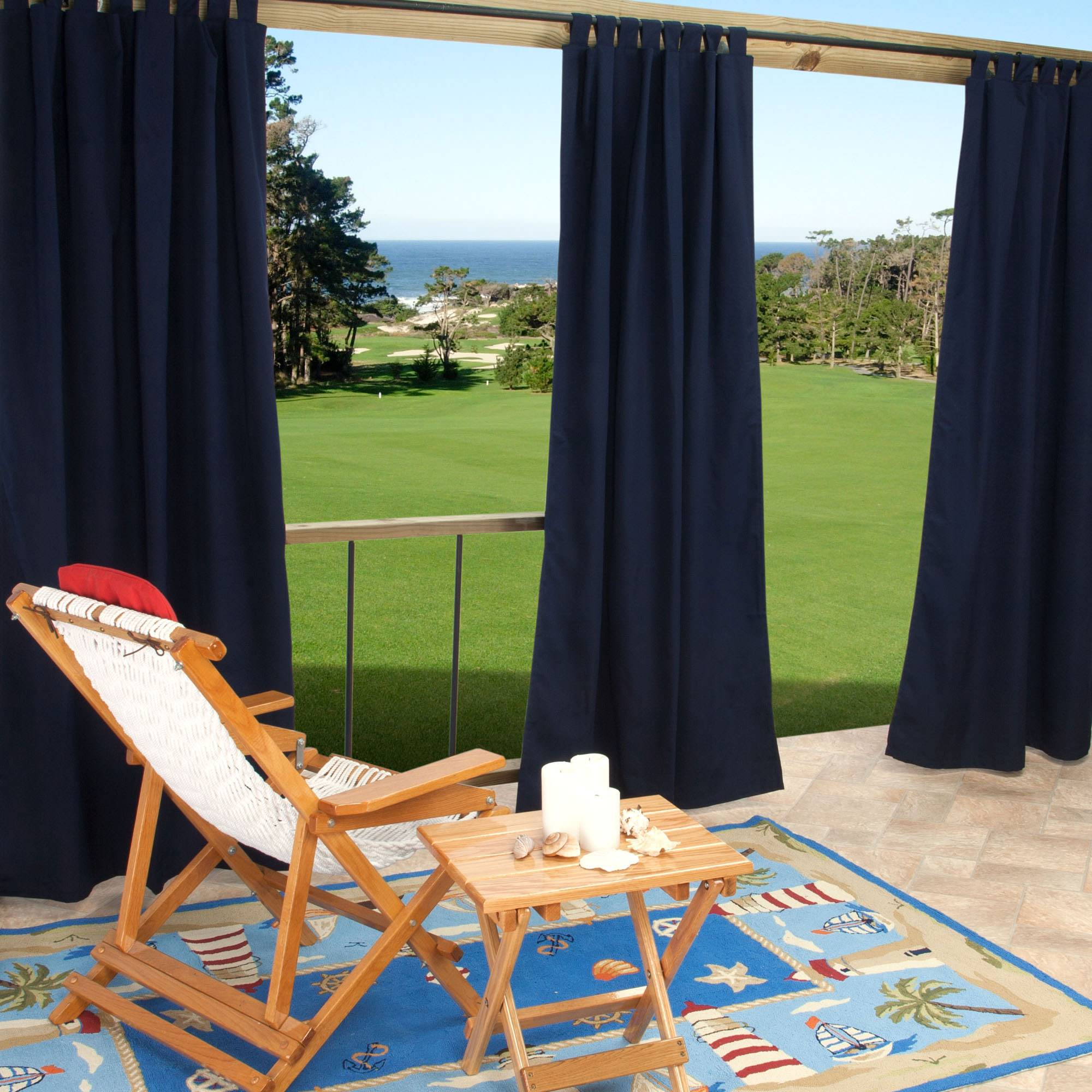 Sunbrella Canvas Navy Outdoor Curtain With Tabs 50 In X 84