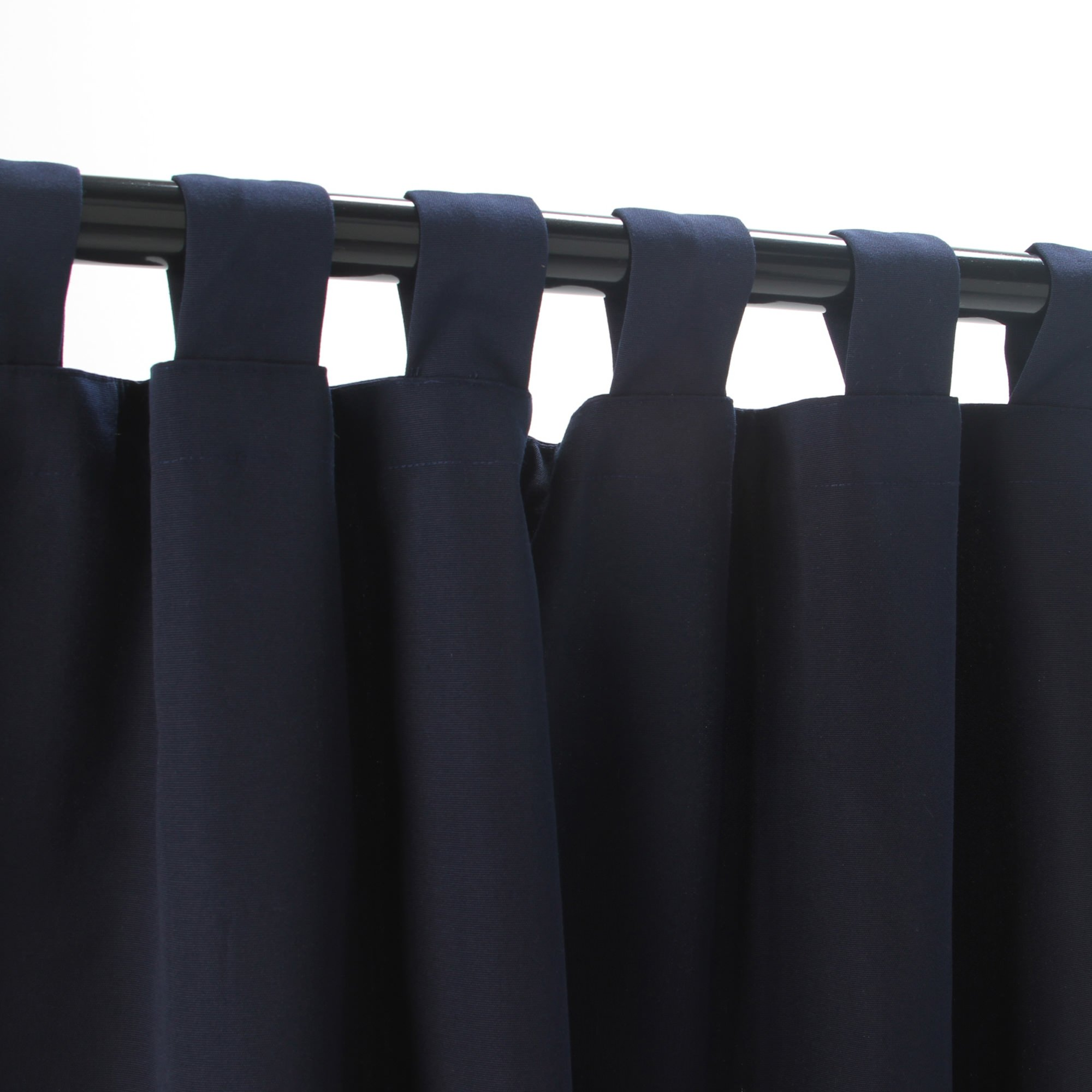navy sunbrella outdoor curtain with tabs