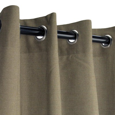 Sunbrella Canvas Taupe Outdoor Curtain with Nickel Plated Grommets