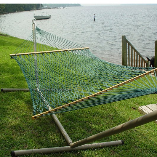 Large DuraCord Rope Hammock with Tri-Beam Steel Hammock Stand
