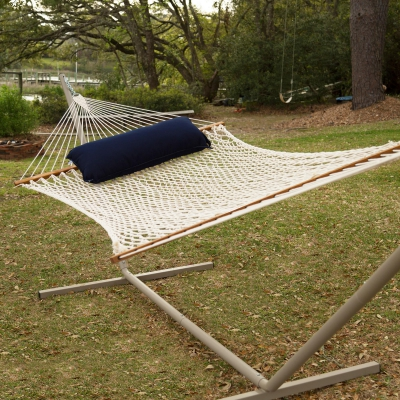 Large Duracord Rope Hammock with Tri-Beam Steel Hammock Stand and Hammock Pillow