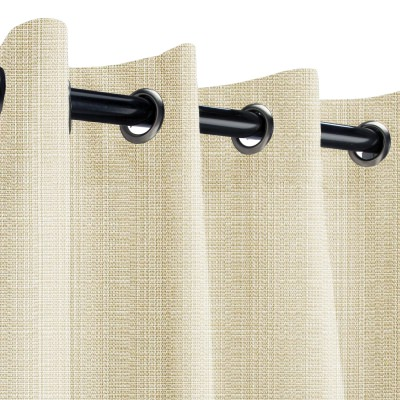 Sunbrella Linen Antique Beige Outdoor Curtain with Nickel Plated Grommets