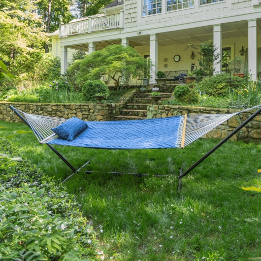 Large Soft Weave Hammock with Tri-Beam Steel Hammock Stand and Matching Soft Weave Pillow