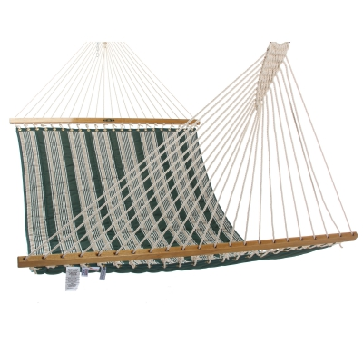 Large Quilted Fabric Hammock - Hunter Green Stripe