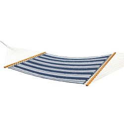 Large Quilted Fabric Hammock - Navy Stripe